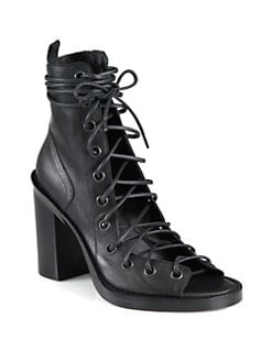 Ann Demeulemeester - Leather Open-Front Ankle Boots
