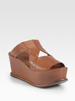 Costume National - Leather Platform Wedge Sandals