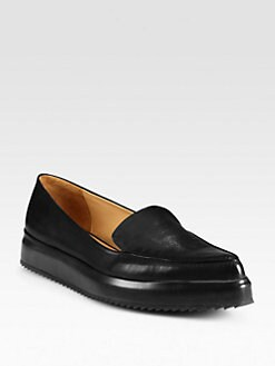Jil Sander - Leather Platform Wedge Loafers