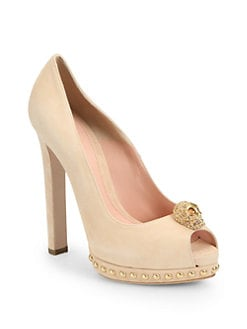 Alexander McQueen - Suede Skull Platform Pumps
