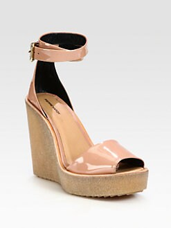 Pierre Hardy - Patent Leather Ankle Strap Wedge Sandals