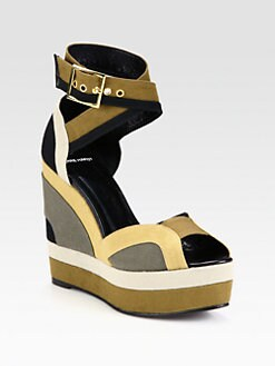 Pierre Hardy - Colorblock Canvas Wedge Sandals