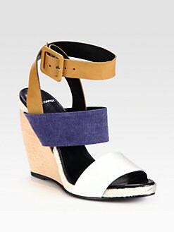 Pierre Hardy - Leather & Canvas Colorblock Wedge Sandals