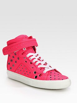 Pierre Hardy - Perforated Patent Leather High-Top Sneakers