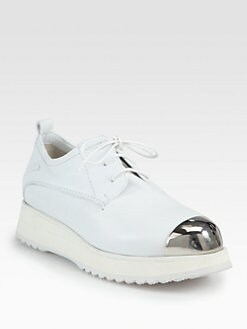 Costume National - Leather Metal-Detail Platform Oxfords