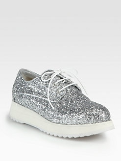 Costume National - Glitter Lace-Up Platform Oxfords