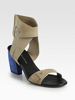 Costume National - Leather & Suede Ankle Wrap Sandals