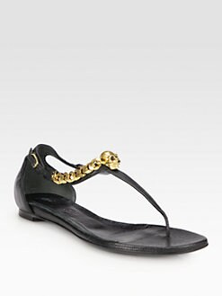 Alexander McQueen - Chain Skull Leather Thong Sandals