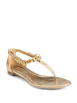 Alexander McQueen - Skull & Chain Metallic Leather Thong Sandals