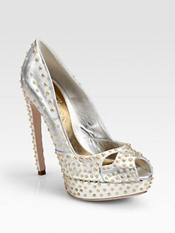 Alexander McQueen - Studded Metallic Leather Platform Pumps