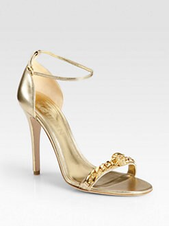 Alexander McQueen - Metallic Leather Jeweled Chain Sandals