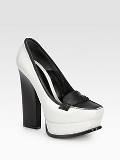 Alexander McQueen - Bicolor Leather Oxford Platform Pumps