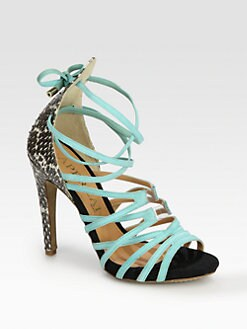 Aperlai - Strappy Snakeskin & Suede Lace-Up Sandals