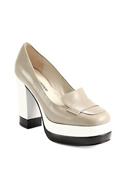 Jil Sander Navy - Leather Colorblock Loafer Platform Pumps