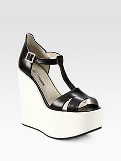Jil Sander Navy - Leather T-Strap Platform Wedge Sandals