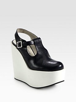 Jil Sander Navy - Textured Leather Platform Wedges