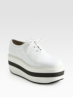 Jil Sander Navy - Textured Leather Lace-Up Platform Sneakers