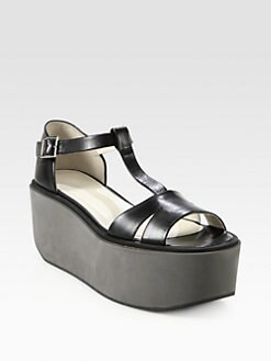 Jil Sander Navy - Leather T-Strap Platform Sandals