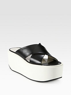 Jil Sander Navy - Textured Leather Crisscross Platform Sandals