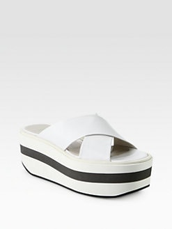 Jil Sander Navy - Leather Crisscross Wedge Slides