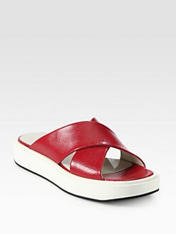 Jil Sander Navy - Textured Leather Platform Sandals