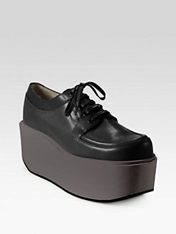 Jil Sander Navy - Leather Lace-Up Platform Sneakers