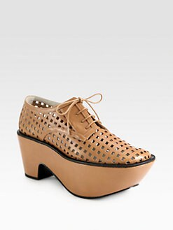Jil Sander Navy - Perforated Leather Lace-Up Platform Oxfords