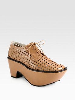 Jil Sander Navy - Perforated Leather Lace-Up Platform Oxfords