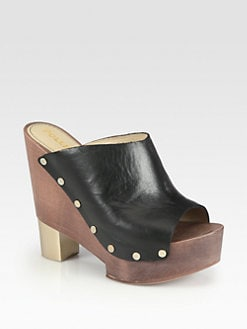 Pollini - Studded Leather Wooden Clogs