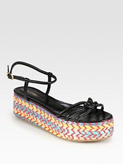 Pollini - Leather Multicolored Platform Espadrille Sandals