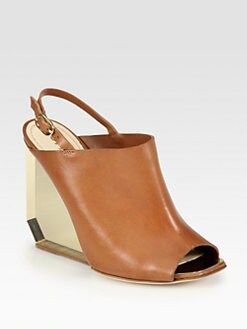 Pollini - Leather Plexiglass Wedge Slingback Sandals