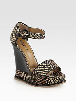 Pollini - Raffia & Leather Platforn Wedge Sandals