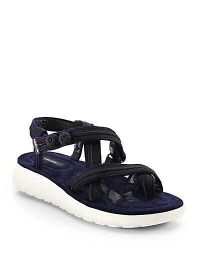 Suede  Grosgrain Demi-Wedge Sandals