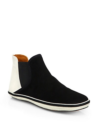 Suede Laceless High-Top Sneakers