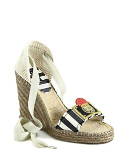 Marc Jacobs - Satin Tie-Up Espadrille Wedge Sandals