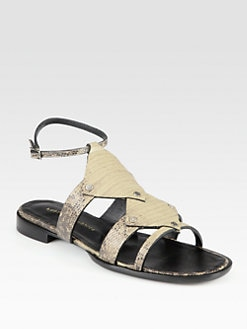Proenza Schouler - Stamped Leather Ankle Strap Sandals