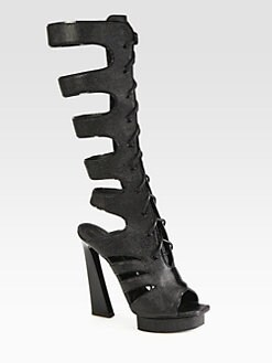 Proenza Schouler - Stamped Leather Gladiator Lace-Up Boots