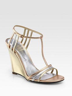 Sergio Rossi - Metallic Leather T-Strap Wedge Sandals