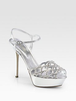 Sergio Rossi - Crystal-Coated Metallic Leather Sandals