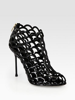 Sergio Rossi - Patent Leather Cage Ankle Boots