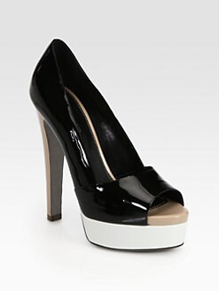 Sergio Rossi - Colorblock Patent Leather Double Platform Pumps