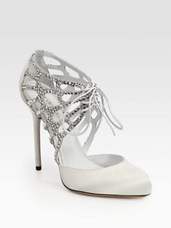 Sergio Rossi - Crystal-Coated Satin & Suede Lace-Up Pumps