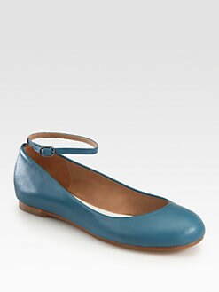 Maison Martin Margiela - Textured Leather Ankle Strap Ballet Flats