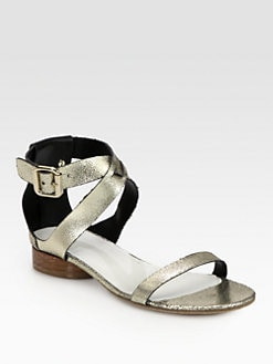 Maison Martin Margiela - Textured Metallic Leather Sandals