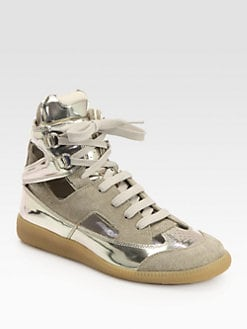 Maison Martin Margiela - Cutout Suede & Metallic Leather Sneakers
