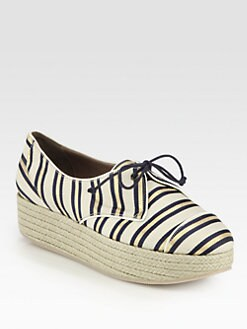 Tabitha Simmons - Florence Striped Canvas Lace-Up Wedge