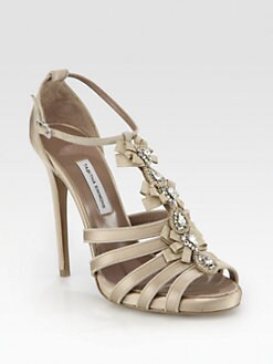Tabitha Simmons - Knotting Crystal-Encrusted Grosgrain & Satin Sandals
