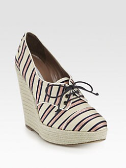Tabitha Simmons - Striped Metallic Canvas Lace-Up Wedge