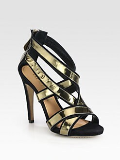 Aperlai - St. Tropez Suede & Metallic Leather Sandals