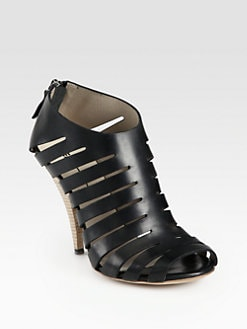 Elisanero - Leather Cutout Ankle Boots